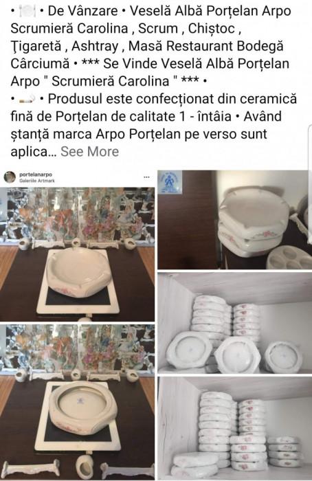 """Veselă Albă PorÈ›elan Arpo """" Scrumieră Carolina """" Ashtray Scrum Cârciumă Bodegă"""