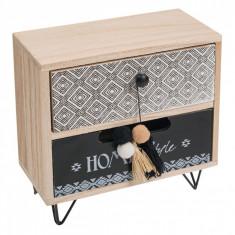 Cutie pentru depozitare din lemn, cu 2 sertare, 20x10x20 cm, bej/negru