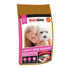 Nutraline Dog Adult Mini Exigent, 8kg, hrana caini talie mica mofturosi