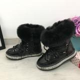 Ghete imblanite negre tip clapari de iarna cizme pt fete copii 24 25 26 27 28 29