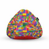Cumpara ieftin Fotoliu Units Puf (Bean Bag) tip para, impermeabil, cu maner, 80 x 90 x 68 cm, lego tetris