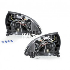 Set 2 faruri compatibil cu Renault Clio MK3 01-05, 2 pozitie angeleyes negru
