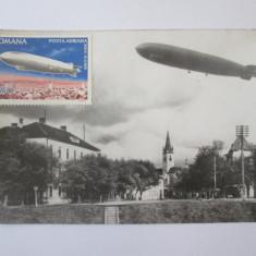 Fotografie model carte postala Zeppelin deasupra Sibiului,timbru comem.1929-1978