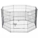 PawHut Țarc pentru Câini Pisici Pui Rozătoare Gard Plasă Cușcă 8 Bucăți 76 x 61cm Negru