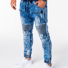 Blugi pentru barbati, albastru cu siret, model genunchi, elastici, slim fit - P675, M