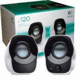 Boxe 2.0 Logitech Z120 , Putere RMS 1.2W , Control Volum , Negru/Alb