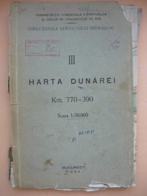 HARTA DUNAREI - KM. 770 - 390 ( scara 1: 50000 ) - 1934 foto