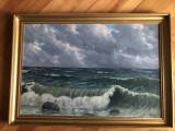 Tablou,pictura in ulei pe panza,furtuna pe mare,semnat