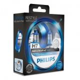 Becuri auto cu halogen pentru far Philips ColorVision Blue H7 12V 55W PX26D, culoare Albastru Kft Auto