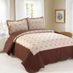 Cuvertura de pat + 2 Fete de Perne - Pat 2 Persoane - 100% Bumbac Brodat - E-C54