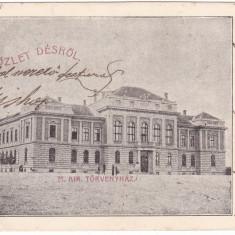 # 2319 - Romania, salutari Des, Dej carte postala circulata 1903: Tribunalul, Fotografie