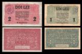 Bancnote, bani vechi 1, 2 lei 1917 BGR cu stampila regala