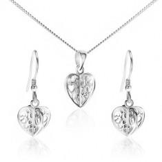 Set din argint 925 - colier şi cercei, inimi cu decupaje