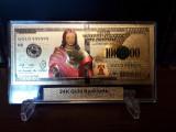 S.U.A. 1000000 DOLARI - ISUS HRISTOS -  BANCNOTA POLYMER PLACATA CU AUR 24K
