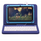"""Husa Tableta Cu Tastatura MRG, Model X, 9.7"""", Micro USB, Albastru C192"""