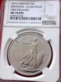 Moneda 2 Lire (Pounds) M. Britanie 1 uncie Argint NGC MS70 DPL 2016 BRITANNIA