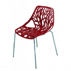 Scaun pentru dining, decupat cu forme, cadru din metal, inaltime 80 cm, Rosu