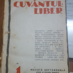 Cuvântul Liber, Revista culturală, Nr. 1, 26 Ianuarie 1924