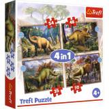 Puzzle 4 in 1, Trefl, Dinozauri interesanti (35, 48, 54 si 70 piese)