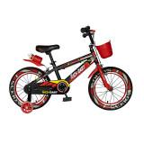 Bicicleta pentru copii Rich Baby, 14 inch, frane C-Brake, roti ajutatoare cu LED, maxim 30 kg, 3-5 ani, Negru/Rosu, General