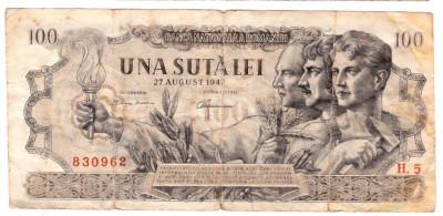Bancnota 100 lei 1947  27 august foto