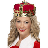 Coroana Regina velur rosu, diametru 29 cm, insertii pietre decorative