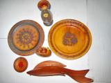 7857- Set decorativ 7 Obiecte rustice din lemn vechi.