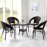 Set mobilier de gradina, terasa, balcon, masa si 4 scaune, din ratan
