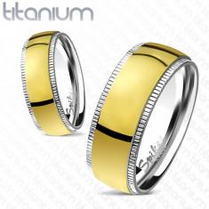 Inel auriu din titan, cu margini cu striaţii - Marime inel: 64