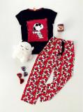 Pijama dama ieftina bumbac lunga cu tricou negru si pantaloni lungi rosii cu imprimeu SY