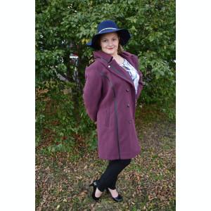 Palton de dama din stofa de calitate, culoare mov, interior captusit