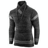 Cumpara ieftin Pulover pentru barbati, negru, guler inalt, flex fit, casual - Alaska Hutte, L, M, XL