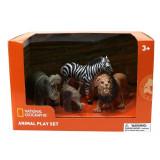 Set 4 figurine Hipopotam, Elefantel, Zebra si Leu National Geographic, 3 ani+
