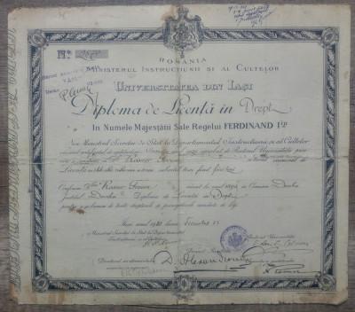 Diploma de Licenta in drept a unui etnic evreu din Dorohoi// Iasi 1920 foto
