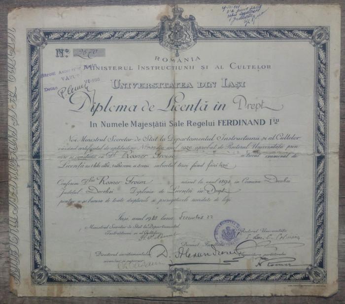 Diploma de Licenta in drept a unui etnic evreu din Dorohoi// Iasi 1920