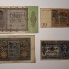 BANCNOTE GERMANIA -5 MARCI 1917 -20 MARCI 1924 -100 MARCI 1920 -50000 MARCI 1922
