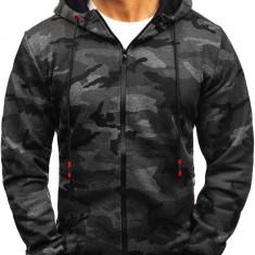 Bluză cu glugă și fermoar pentru bărbat camuflaj-grafit Bolf 33017