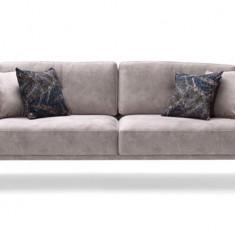 Canapea fixa tapitata cu stofa, 3 locuri Nadia Gri, l222xA86xH81 cm