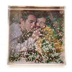 Glob foto patrat cu zapada personalizat, 10.2×10.2 cm, fotografie inclusa