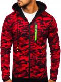 Cumpara ieftin Bluză pentru bărbat cu glugă și fermoar camuflaj-roșie Bolf DD99-2