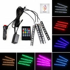 Kit Complet interior LED 4 x Benzi 12 SMD RGB cu telecomanda 22cm