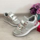 Cumpara ieftin Adidasi cu scai colorati argintii cu sclipici pt fetite 31 32 33