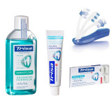 Pachet Trisa Travel, pasta de dinti 15 ml, periuta dinti Trisa travel plus, pastile dentare, apa de gura 100 ml