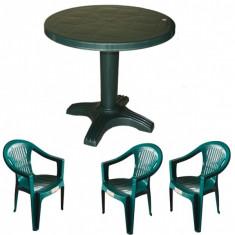 Set gradina masa 80 cm cu 3 scaune Carnaval culoare verde B001029 Raki