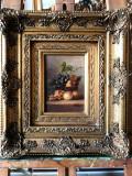 11 Natura moarta, tablou cu Flori si fructe  Pictura inramata 41x36 cm