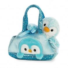 Pinguin albastru in geanta - Fancy Pal - 20 cm, Aurora 32834