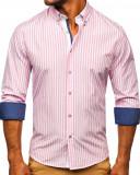 Cumpara ieftin Cămașă în dungi mâneca lungă roz Bolf 20704