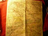 Harta rutiera interbelica - Bucuresti- Giurgiu / Ploiesti-Buzau ,33x33cm