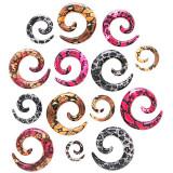 Expander pentru ureche – spirală, model piele de şarpe - Lățime: 6 mm , Culoare Piercing: Portocaliu