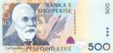ALBANIA █ bancnota █ 500 Leke █ 2007 █ P-72a █ UNC █ necirculata